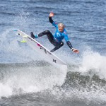 Kai Hing (Wurtulla, QLD) executed this critical forehand aerial to win the 14 & Under boys division. Photo Cahill Bell-Warren/Surfing Victoria